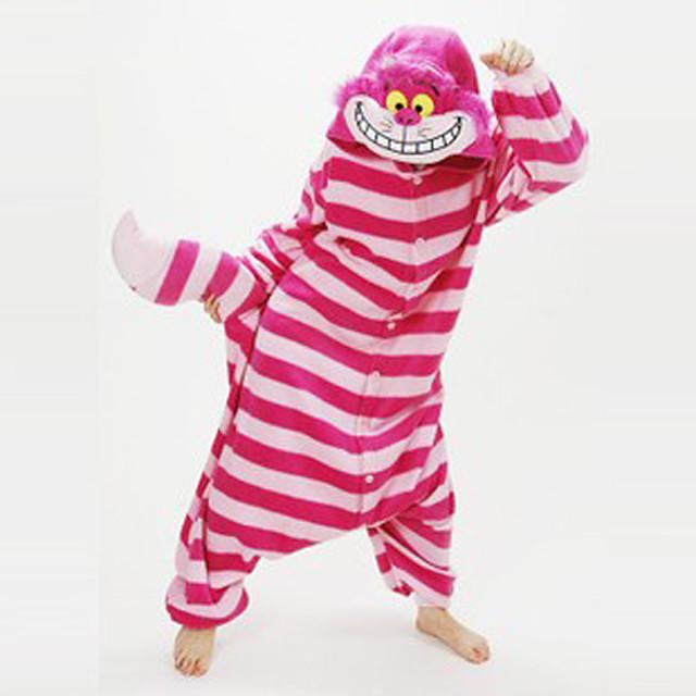 Adulto Camuflagem Pijamas Kigurumi Vestuário de Noite gato de Cheshire Pijamas Macacão Velocino de Coral Vermelho Cosplay Para Homens e Mulheres Pijamas Animais desenho animado Festival / Celebração
