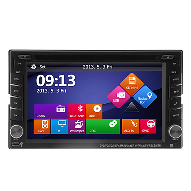 TH8129GA 6.2 inch 2 DIN Windows CE 6.0 / Windows CE In-Dash Car DVD Player Touch Screen / GPS / Built-in Bluetooth for universal Support / iPod / 3D Interface / Steering Wheel Control