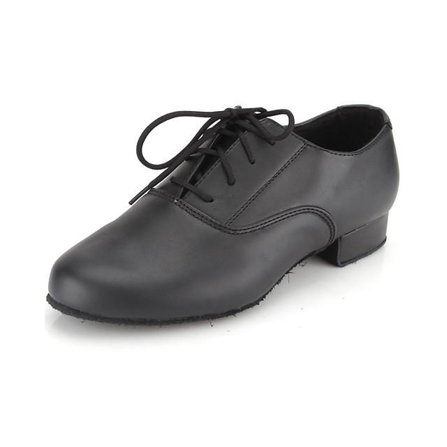 男性用 ラテン用シューズ 社交ダンス ラインダンス オクスフォード 編み上げ ローヒール ブラック 靴紐 子供用 / EU43