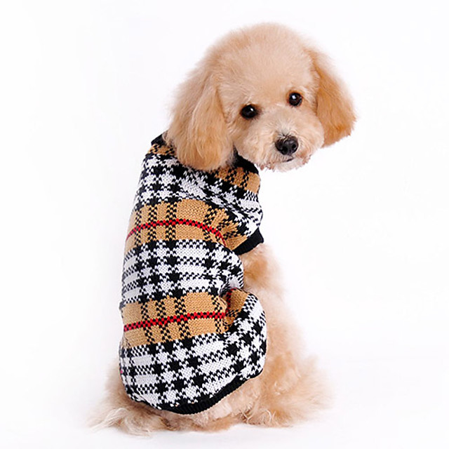 Cat Dog Sweater Plaid / Check Classic Keep Warm Winter Dog Clothes Brown Costume Woolen XS S M L XL