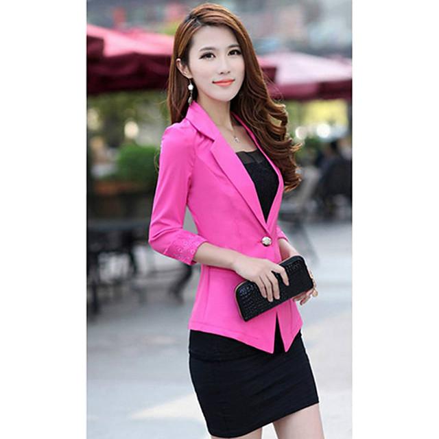 Women's Fashion  Slim Blazer Candy Color Three Quarter Sleeve Suit One Button Thin Blazer