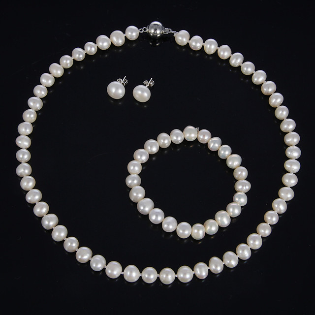 Women's Pearl Jewelry Set Earrings / Necklace / Bracelets - For Party / Special Occasion / Birthday