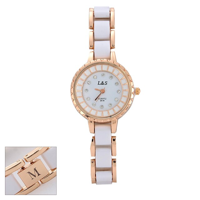 Personalized Gift Watch, Analog Japanese Quartz Watch with Metal Case Material Metal / Ceramic Band Casual Watch / Fashion Watch / Wrist Watch Water Resistance Depth