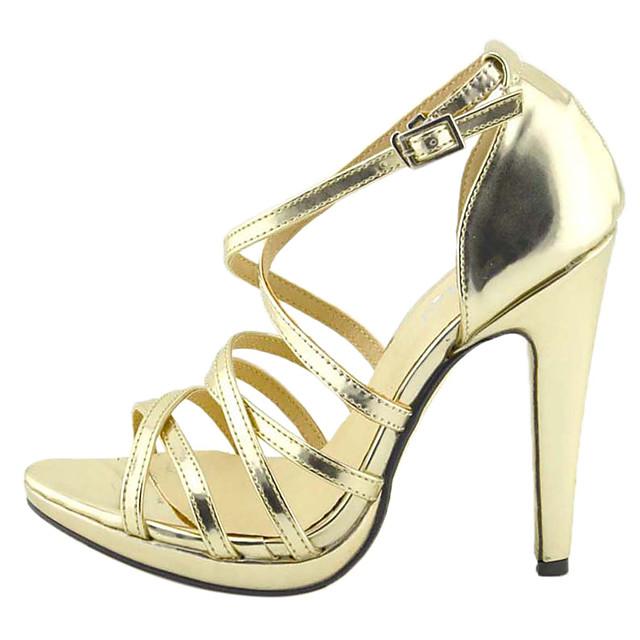 Women's Spring Summer Fall Leatherette Office & Career Dress Stiletto Heel Buckle Gold