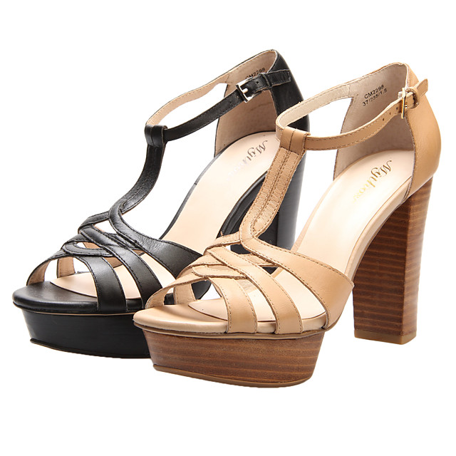 Women's Spring Summer Fall Platform Leather Office & Career Dress Casual Chunky Heel Platform Black Beige