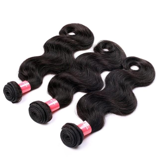 18 20 22 дюймы Великие 5А бразильские Девы человеческих волос Природа Черный цвет объемная волна Наращивание волос