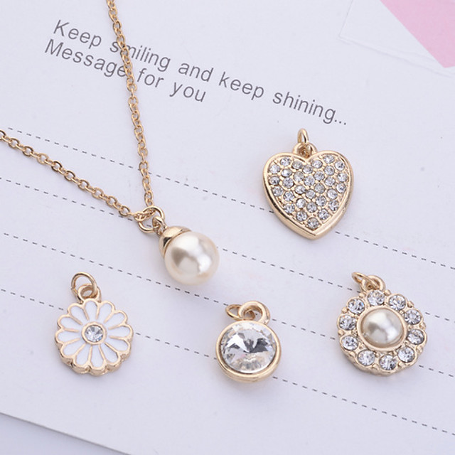 Women's Pearl Pendant Necklace Ladies Imitation Pearl Rhinestone Gold Plated Gold Necklace Jewelry 5pcs For Party Daily Casual
