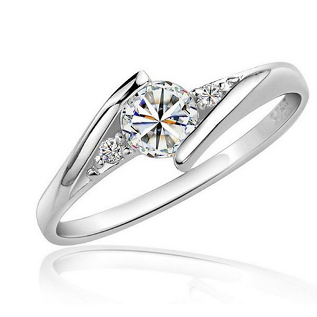 Women's Ring wrap ring Synthetic Diamond 1pc Silver Zircon Cubic Zirconia Platinum Plated Round Statement Ladies Elegant Wedding Party Jewelry Solitaire Round Cut Halo Love
