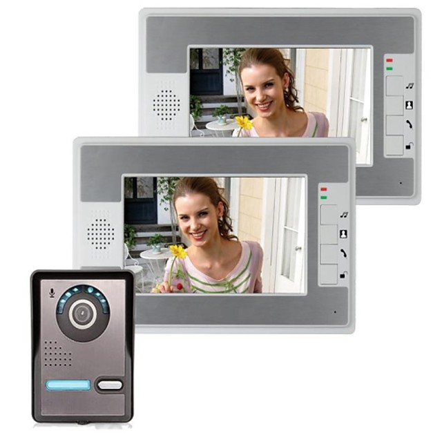 7 Inch IP Video Door Phone Doorbell Intercom Entry System with 2 Monitor +1 IR Camera Night Vision 420 TVLine Support Remote unlocking Handfree