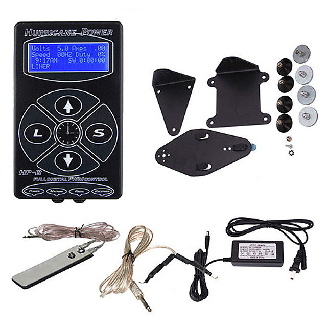 hurricane digital tattoo machine power clip cord foot pedal LCD 110-240V V Classic Daily