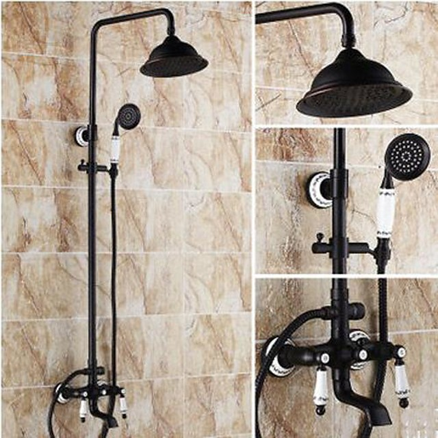 Antique Brass Shower System Set,Black Rainfall Oil-rubbed Bronze Two Handles Three Holes Bath Shower Mixer Taps with Hot and Cold Switch and Ceramic Valve