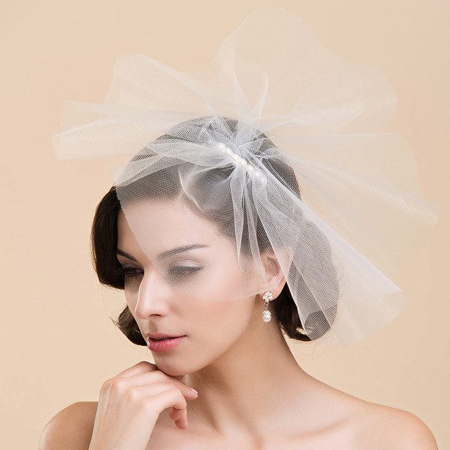 One-tier Wedding Veil Blusher Veils with Pearl Tulle A-line, Ball Gown, Princess, Sheath / Column, Trumpet / Mermaid