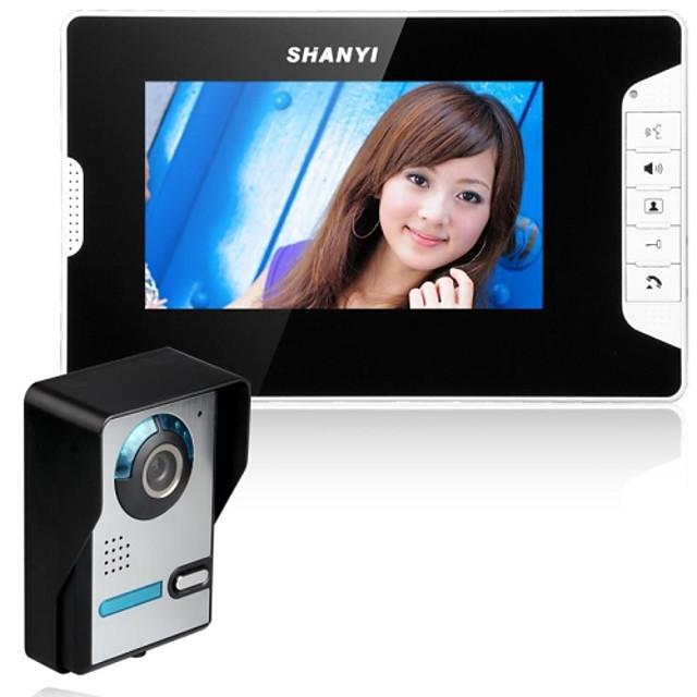 7 Inch Video Door Phone Doorbell Intercom Kit 1-Camera 420TVLine CMOS 1-Monitor Night Vision One to One Hands-free Wall Mounting