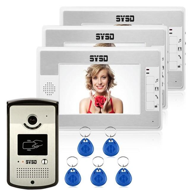 Wired RFID 7inch Hands-free One to Three video doorphone / CMOS / 1/3 Inch / 420TVLine / #