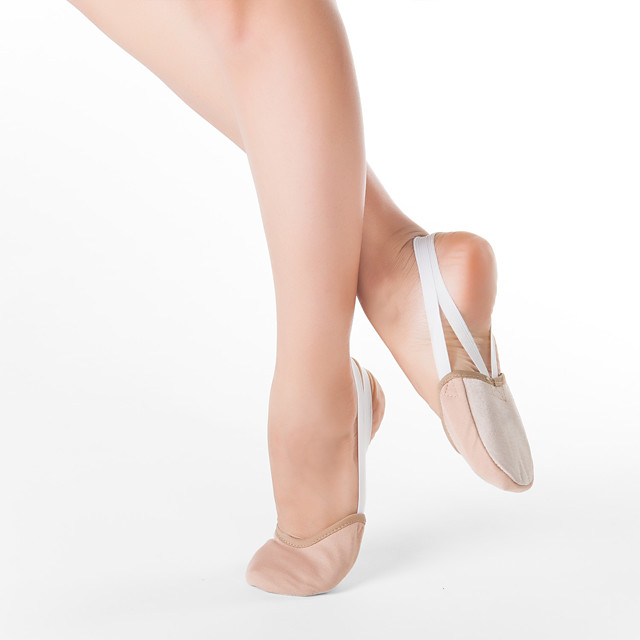 Women's Dance Shoes Fabric Ballet Flats Practice Nude