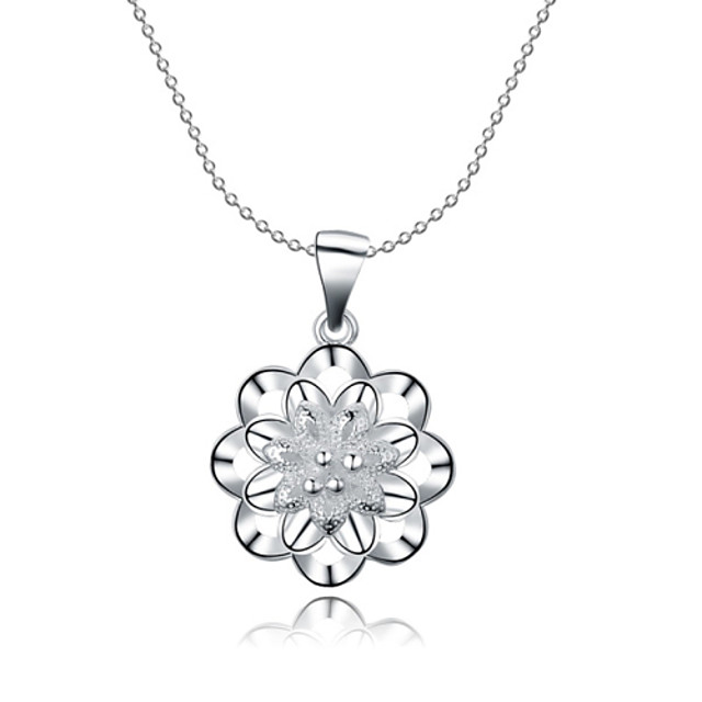 Women's Cubic Zirconia Choker Necklace Pendant Necklace Pendant Hollow Out Flower Ladies Synthetic Gemstones Sterling Silver Zircon White Necklace Jewelry For Christmas Gifts Wedding Party Thank You