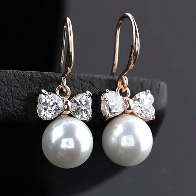 Women's White Pearl Drop Earrings Hoop Earrings Cubic Zirconia Earrings Jewelry Rose Gold / Champagne / Silver For 1pc