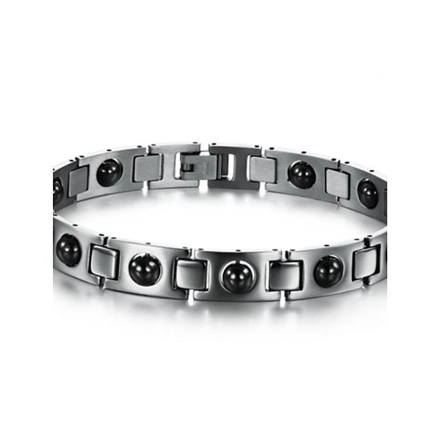Муж. Браслет разомкнутое кольцо Теннисные браслеты Уникальный дизайн Мода Первоначальные ювелирные изделия Equilibrio Синтетические драгоценные камни Браслет Ювелирные изделия Серебряный Назначение
