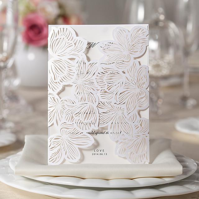 Gorgeous Flora Design White Wedding Invitation-Set Of 10/20/50