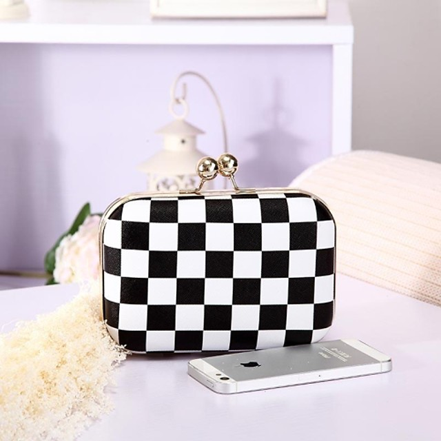 Women's Fashion Black and White Checker Plaid Damier Middot Evening Bags Clutches