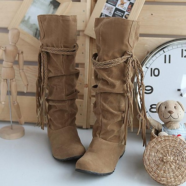 Women's Wedge Heel Ruffles / Lace-up Suede 35.56-40.64 cm / Knee High Boots Slouch Boots Fall / Winter Black / Pink / Brown