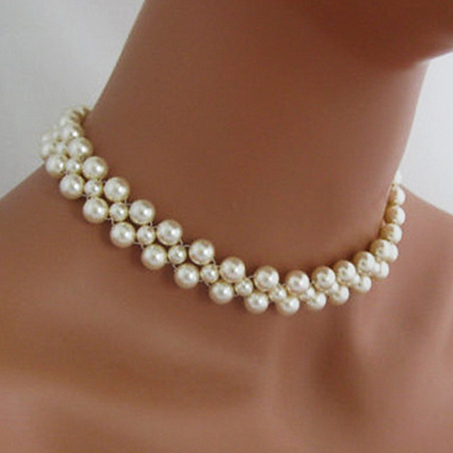 Women's Pearl Choker Necklace Beaded Necklace Bridal Imitation Pearl White Necklace Jewelry For Wedding Party Daily Casual