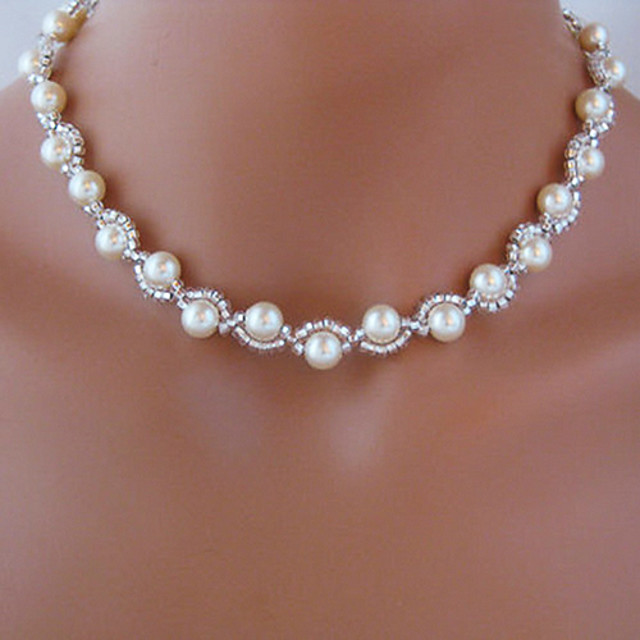 Beaded Necklace Rosary Chain Imitation Pearl White Necklace Jewelry For Wedding Party Casual Daily