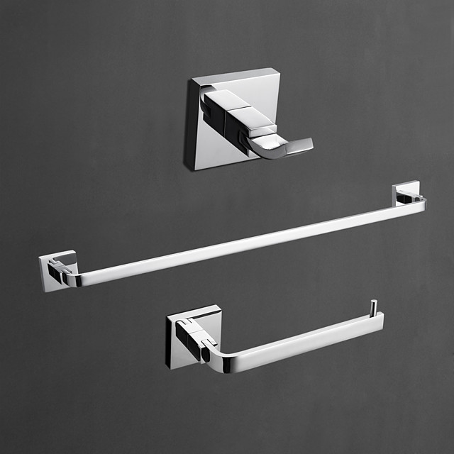 Brass Bathroom Accessory Set Contemporary Robe Hook, Towel Bar and Toilet Paper Holders Wall Mounted Chrome Household