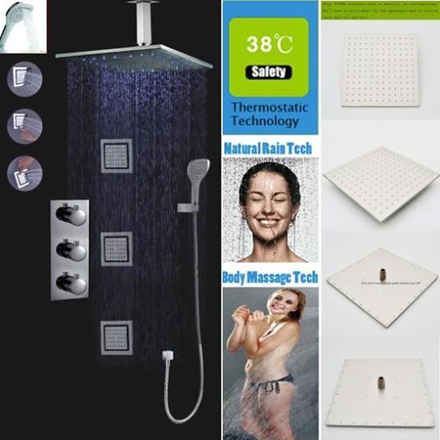 ברז למקלחת הגדר - שפורפרת יד כלולה תרמוסטטי LED עכשווי כרום מותקן על הקיר שסתום פליז Bath Shower Mixer Taps / Brass