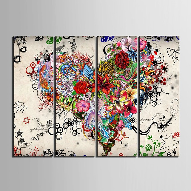 Print Rolled Canvas Prints - Abstract Floral / Botanical Classic Modern Four Panels Art Prints