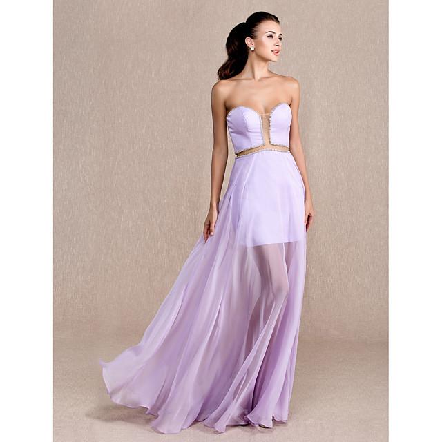 Sheath / Column Prom Formal Evening Military Ball Dress Sweetheart Neckline Floor Length Chiffon Tencel with Beading 2021