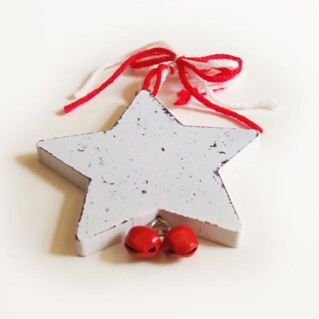 noël décoratives suspendus forme de pentagramme blanc 1 pc materiels mdf pour les décorations de Noël