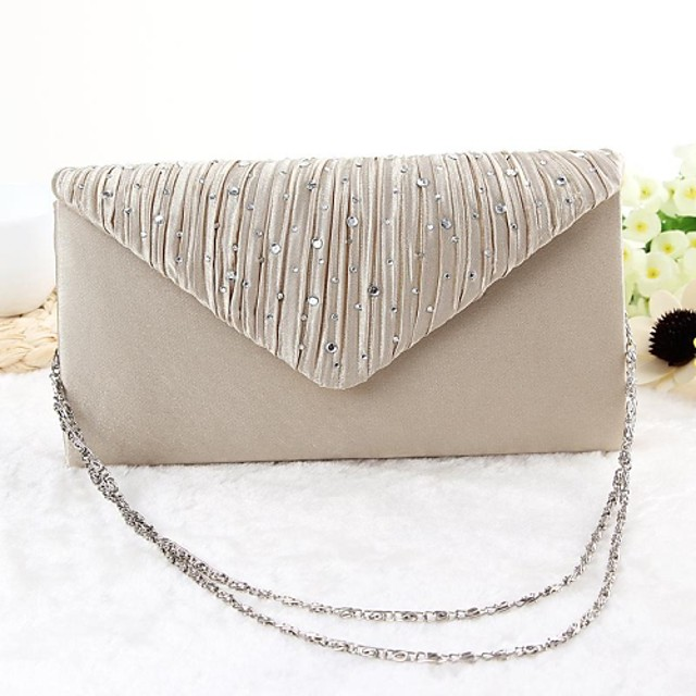 Women's Bags Polyester Evening Bag Plain Party Event / Party Evening Bag Wedding Bags Handbags Black Gold Silver Beige