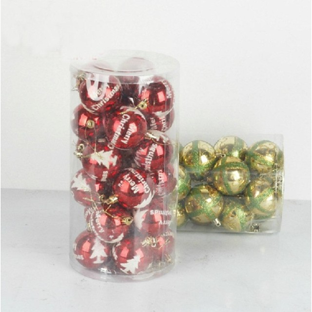 Christmas Decorations Christmas Tree Ornaments Ball Cute Lovely Plastic Adults' Toy Gift 24 pcs