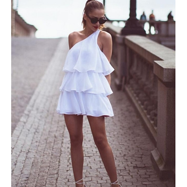 Women's Sloping Shoulder Layered Mini Dress