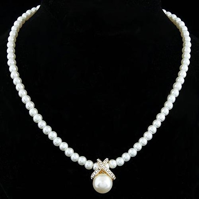 Women's Pearl Pendant Necklace Pearl Necklace Ladies Elegant Bridal Pearl Sterling Silver Imitation Pearl Golden Silver Necklace Jewelry For Wedding Party Daily / Silver Plated / Rhinestone