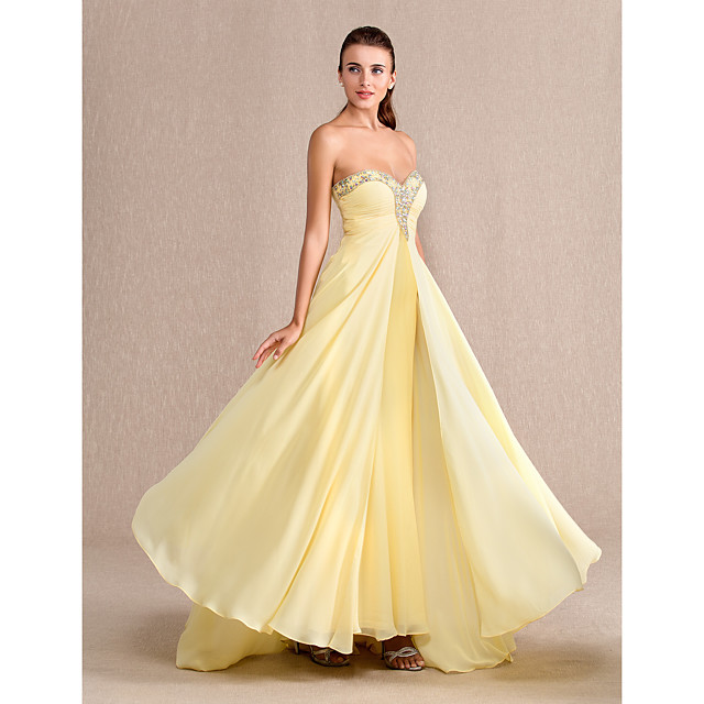 Sheath / Column Prom Formal Evening Military Ball Dress Sweetheart Neckline Floor Length Chiffon with Ruched Beading 2021