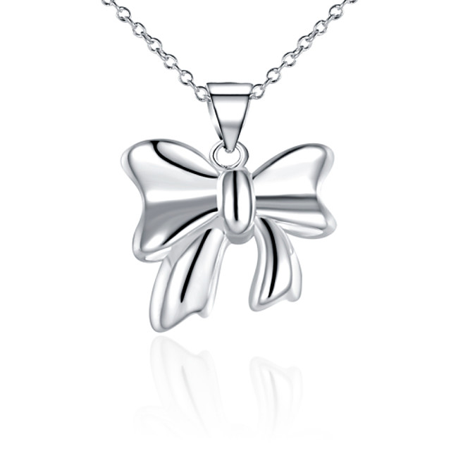 Women's Cubic Zirconia Choker Necklace Pendant Necklace Bowknot Ladies Sterling Silver Zircon Silver White Necklace Jewelry For Christmas Gifts Wedding Party Thank You Gift Daily