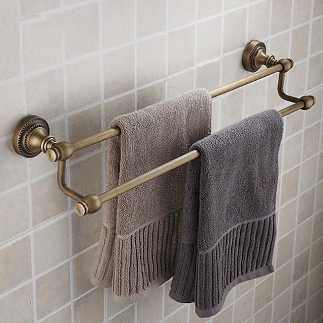בר מגבות שכבה כפולה עיצוב חדש מדף אמבטיה פליז עתיק עכשווי 63 * 10 * 18 ס