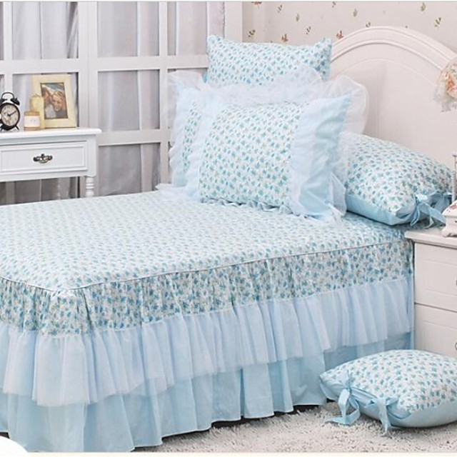 FADFAY@Country Style Blue Floral Print Bed Skirt Korean White Lace Ruffles Bed Skirt Beautiful Bed Skirts Queen