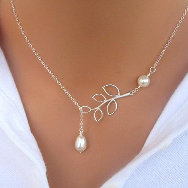 Women's Pearl Pendant Necklace Y Necklace Lariat Leaf Ladies Basic Simple Style Fashion Pearl Imitation Pearl Alloy Silver Pearl Chain Necklace 1 Pearl Chain Necklace 2 Pearl Chain Necklace 3 Silver
