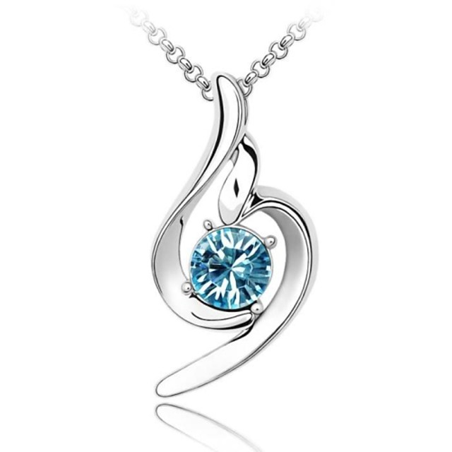 Women's Crystal Pendant Necklace Vintage Necklace Fashion Crystal Platinum Plated Austria Crystal A B C D E Necklace Jewelry For Wedding Party Daily Casual
