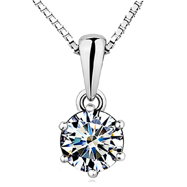 Women's Diamond Cubic Zirconia Pendant Necklace Solitaire Round Cut Crown Ladies Basic Elegant Sterling Silver Zircon Cubic Zirconia White Necklace Jewelry For Wedding Party Gift Daily Casual