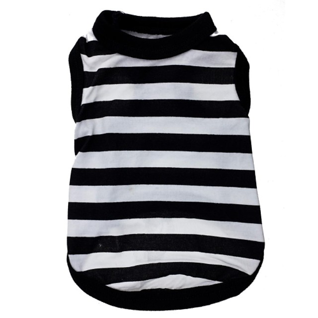 Cat Dog Shirt / T-Shirt Stripes Heart Dog Clothes Black / White Costume Terylene XS S M L