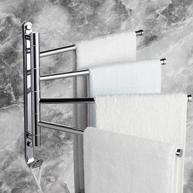 Towel Racks Wall Mounted Bath Towel Bar,Brass Rotating Space-Saving Bathroom Towel Rack with Hooks and 4Rods Suitable for Bathroom