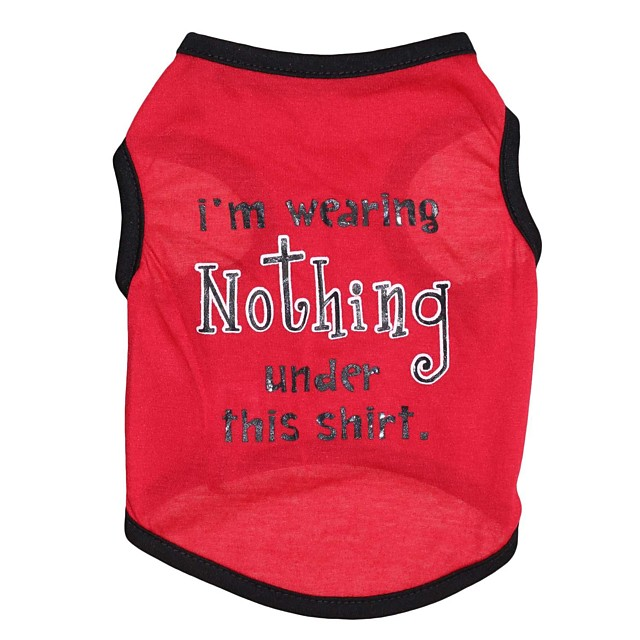 Cat Dog Shirt / T-Shirt Letter & Number Dog Clothes Red Costume Cotton XS S M L