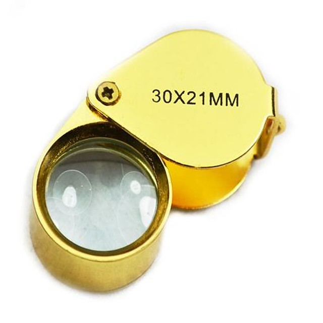 Mini-Klapplupe 30x 21mm Juweliere Augenlupe Lupentasche Handwerkzeuge (golden)