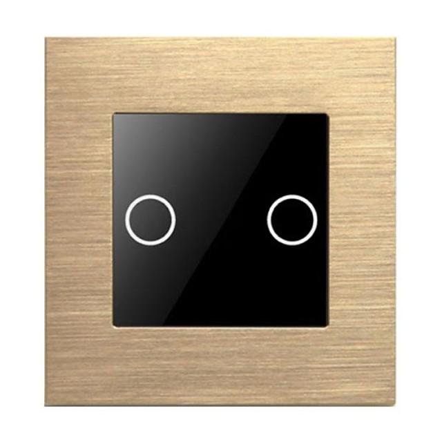 tocar 2 cuadrilla 1 interruptor de modo dirigido metal pulido de vidrio templado de control estándar único europeo