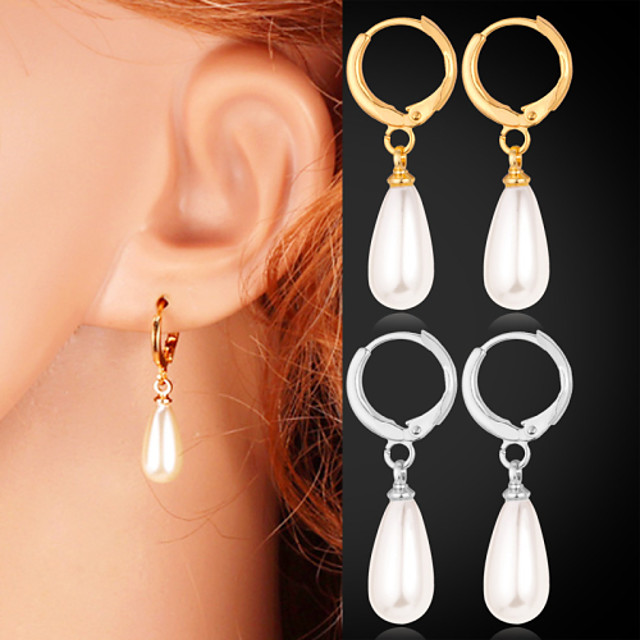 Women's White Stud Earrings Drop Earrings Ladies Imitation Pearl Earrings Jewelry Gold-Pearl / Silver-Pearl / Gold For Wedding Masquerade Engagement Party Prom Promise 1pc
