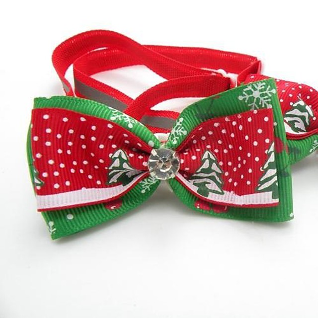 Cat Dog Necklace Puppy Clothes Tie / Bow Tie Cosplay Wedding Christmas Dog Clothes Puppy Clothes Dog Outfits Red Costume for Girl and Boy Dog Cotton